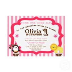 Adorable and playful circus themed invite. Fully Customizable.