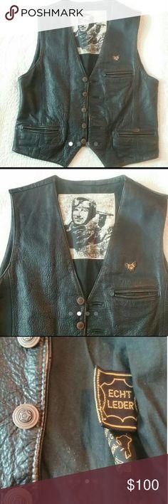 """Vintage Leather Motorcycle Vest Good vintage condition  Echt Leder Leather Vest The Flying Jackets  Size 48 Approximate Measurements.. Shoulder to shoulder...16"""" Armpit to armpit. ..21"""" Length. .24"""" Jackets & Coats Vests"""