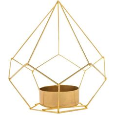 Gold Geometric Metal Tea Light Holder