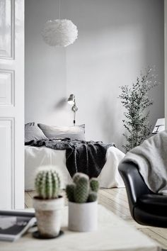 Tiny plants and cacti lend a pop of color to any minimalist room. - HarpersBAZAAR.com