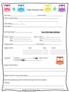 A great FREE download of a student information sheet to have parents fill out at open house when you return back to school!