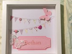 by HomemadebyAnnMarie Handmade Baby, Handmade Items, White Box Frame, Baby Box, Box Frames, New Baby Gifts, Kid Names, Personalized Baby, Bunting