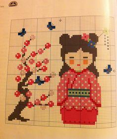 Kokeshi perler bead pattern Kawaii Cross Stitch, Cross Stitch Heart, Beaded Cross Stitch, Crochet Cross, Modern Cross Stitch, Cross Stitch Kits, Cross Stitch Designs, Cross Stitch Embroidery, Cross Stitch Patterns