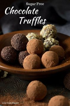 These sugar free chocolate truffles are silky smooth and sinfully rich! This easy low carb dessert is great for sugar free, ketogenic and THM diets! Only 2 net carbs per serving!