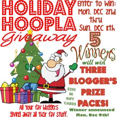 Holiday Hoopla Giveaway! 15 blogger give away their favorite stuff! 45 prizes & $250 in gift cards! Giveaway ends 12/8 at midnight!