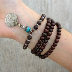 108 mala rosewood prayer beads and genuine Turquoise by lovepray, $74.00