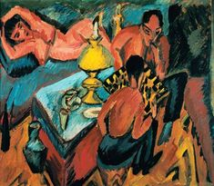 Ernst Ludwig Kirchner - Otto Mueller at the chess