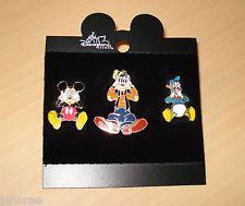 DISNEY SEE HEAR SPEAK NO EVIL Pin Set 3 Mickey Mouse Goofy Donald Duck on Card