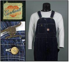 Vintage 1930s 1940s CARHARTT WORKWEAR Sanforized Indigo Denim Bib Overalls