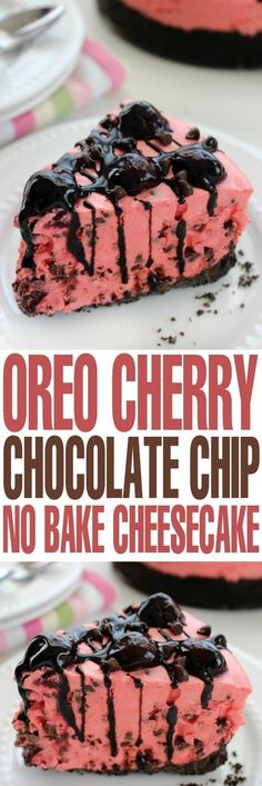 This Oreo Cherry Chocolate Chip No Bake Cheesecake is a decadent dessert recipe that is actually super easy to whip up. This Oreo Cherry Chocolate Chip No Bake Cheesecake is a decadent dessert recipe that is actually super easy to whip up. No Bake Desserts, Easy Desserts, Delicious Desserts, Dessert Recipes, Yummy Food, Paleo Dessert, Health Desserts, Cherry Desserts, Valentine Desserts