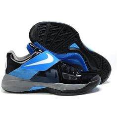 Nike Zoom KD IV Kevin Durant Shoes Black Blue Sport Kevin Durant Basketball  Shoes 42862446f