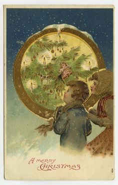 Christmas Greetings Children Decorated Candlelit Tree c1910 Gilt Embossed PC #Christmas