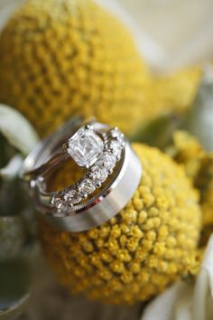 Close-up of our wedding rings.