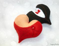 Bridesmaid gift, Wedding cake topper, Felt hearts, Valentines Day, Felt magnet, Wedding favors, Heart hanger, Maid of honor