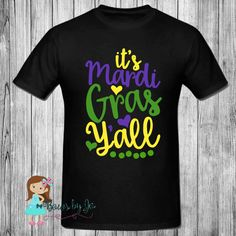 It's Mardi Gras Ya'll Celebration Vinyl Shirt by BowsByJo #mardigras #beads #neworleans #holiday #yall #southern #boutiqueclothing #customclothing #mardi #gras #custom #onlinestore #shoponline #smallbusinesses