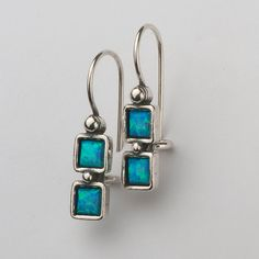 100% SOLID 4mm Square Cabs 925 Sterling Silver Earrings With Opal Stone