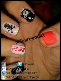 Nail Art : Halloween  http://www.nail-art-addict.blogspot.fr/2012/10/nail-art-halloween.html
