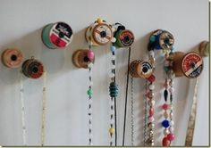 wooden spools as jewelry hooks. Going to do this in my sewing room to hang stuff! Jewelry Hooks, Jewelry Holder, Jewlery, Gold Jewelry, Beaded Jewelry, Diy And Crafts, Arts And Crafts, Hanging Necklaces, Organize Necklaces