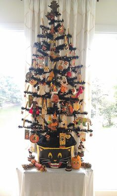 Decorated Black Halloween Feather Tree by MaraMax Collection of K. Verhelle