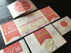 Coral Las Vegas Wedding Invitation custom fold by TheDesignBrewery Coral Wedding Invitations, Wedding Invitation Design, Wedding Stationary, Custom Invitations, Invites, Married In Vegas, Elopement Announcement, Las Vegas Weddings, Wedding Website