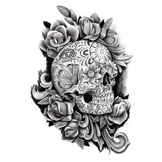 An awesome sugar skull tattoo design inspired by Day of the Dead.