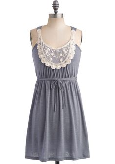 Rainy Day Darling Dress - Grey, White, Lace, Scallops, A-line, Empire, Tank top (2 thick straps), Casual, Summer, Short, Beads, Pearls
