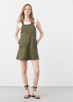 Pockets pinafore dress - Dresses for Woman Sport Outfits, Cool Outfits, Moda Mango, Mango France, Mode Editorials, Khaki Dress, Pinafore Dress, Mango Fashion, Summer Dresses