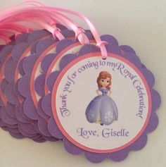 Sofia the first favor tags Sofia the first party by NiuDesigns, $15.00