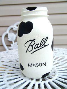 Handpainted Cow Print Mason Jar by lisalskinner on Etsy, $6.50