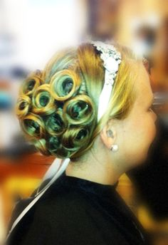 pin curls with an up