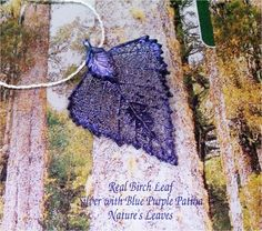 Blue and purple to coordinate with a wedding, custom birch leaf by Natures Leaves $12.95, via Etsy.