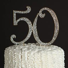 50 Gold Cake Topper for Birthday or Anniversary - Party Supplies and Decoration Ideas - 50th