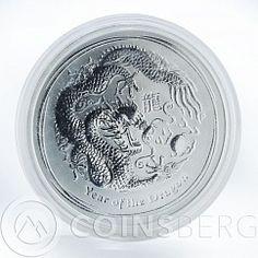 Australia 1 dollar Year of Dragon Lunar Series 2 1 oz silver coin 2012
