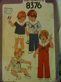 #Simplicity8376. Toddlers' jumpsuit in two lengths, pullover top, pants and shorts, size 1/2 & 1. Copyright 1977.