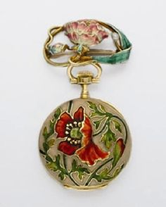 Art Nouveau Gold and Enamel Lapel Watch   Dial and movement signed Patek Philippe & Cie, Geneve