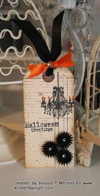 Welcome to KinderStampO!: Quick Card Tuesday (QCT): Halloween Greetings Tag featuring the KinderStampO Vintage Halloween Stamp Set