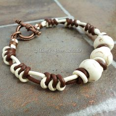 Handmade Bracelet for Men, White Magnesite, Braided Leather Jewelry | Mamis_Gem_Studio - Jewelry on ArtFire
