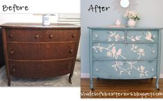 Shades of Blue Interiors: Blue Bird Dresser painted the first coat just pure Provence, then the second coat a custom mixture of Provence, Old White and a bit of Duck Egg. The branch and birds design was drawn-- free-hand with chalk, then painted white. Then I distressed it lightly in some areas to reveal the deeper color of Provence, and all the way down to the wood on the edges.Lastly, I clear waxed it all over, and added jewelry (clear glass knobs).