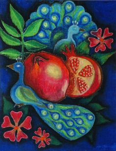 Peacocks and Pomegranates oil pastel print by tiffanymn on Etsy