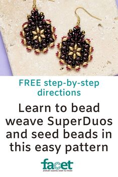 Bead weave SuperDuos and seed beads using this easy pattern Seed Bead Jewelry, Seed Beads, Diy Jewelry Projects, Super Duo, Seed Of Life, Peyote Patterns, Jewelry Patterns, Diy Earrings, Bead Weaving