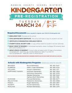 Kindergarten Registration Flyer  Google Search  PreK