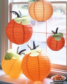 Take an ordinary paper lantern, dress it up with leaves, a stem, and tendrils, and it will assume a totally unexpected identity: a Halloween pumpkin. A few craft supplies are all you need to transform these inexpensive, light-as-air globes.
