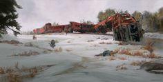 The Old Train Wreckage, Stéphane (Wootha) Richard on ArtStation at https://www.artstation.com/artwork/8PqbG