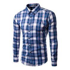 Camisa Azul Casual Xadrez Elegante Masculina Manga Longa 780c369882166