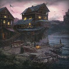 Riverside Warehouse Andrii Shafetov Fantasy landscape Fantasy city Fantasy town
