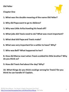 Printables Old Yeller Worksheets old yeller comprehensionreflection questions vocab project by fred gipson is a classic the students will treasure you receive