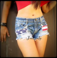 Low rise American flag shorts by Jeansonly via Etsy