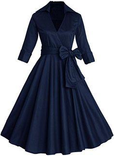 Babyonlinedress Navy Blue 3/4 Sleeve women Semi Formal dress,Size S
