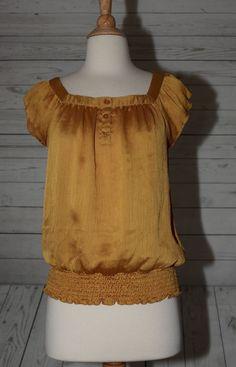 IZ Byer California Sz S, Small Mustard Yellow Shiny Pull Over Blouse Top Shirt    eBay