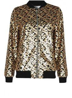 Glamorous Leopard Sequin Bomber Jacket